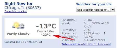 Pocitová teplota -22°C