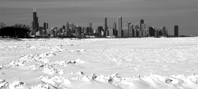 Chicago skyline after blizzard